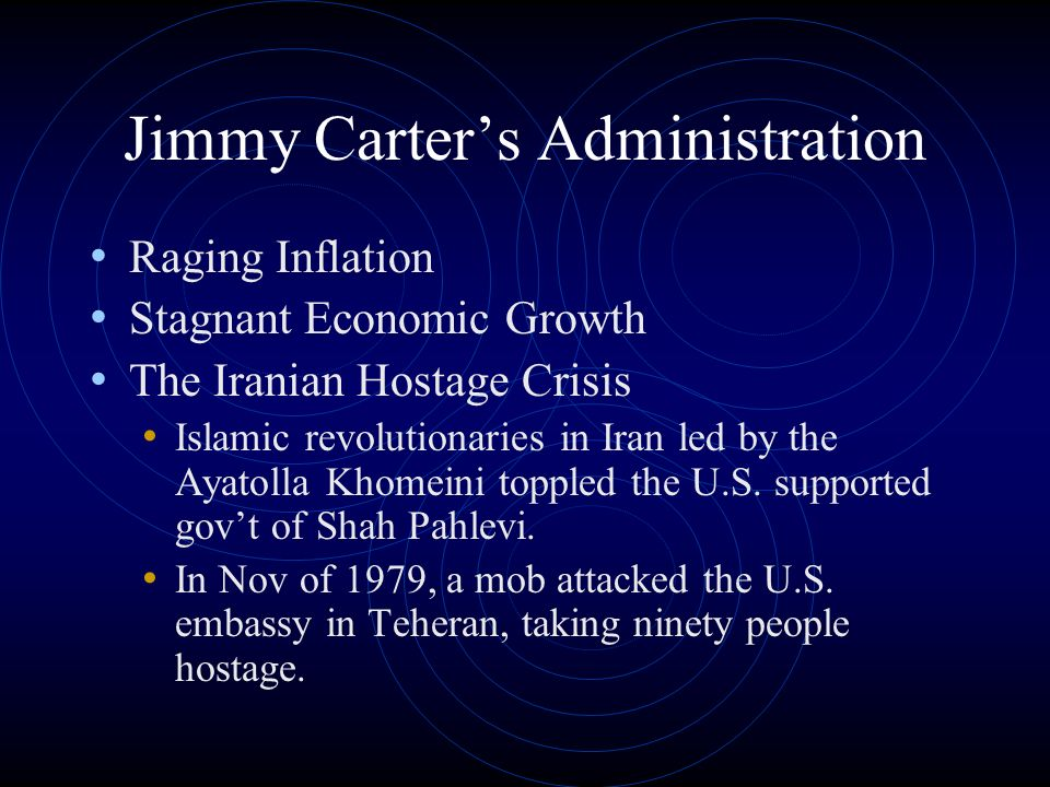 Jimmy Carters Administration Raging Inflation Stagnant Economic Growth The Iranian Hostage Crisis Islamic revolutionaries in Iran led by the Ayatolla