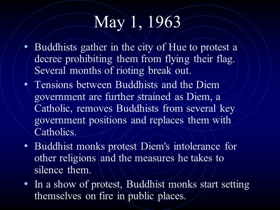 May 1, 1963 Buddhists gather in the city of Hue to protest a decree prohibiting them from flying their flag. Several months of rioting break out. Tens
