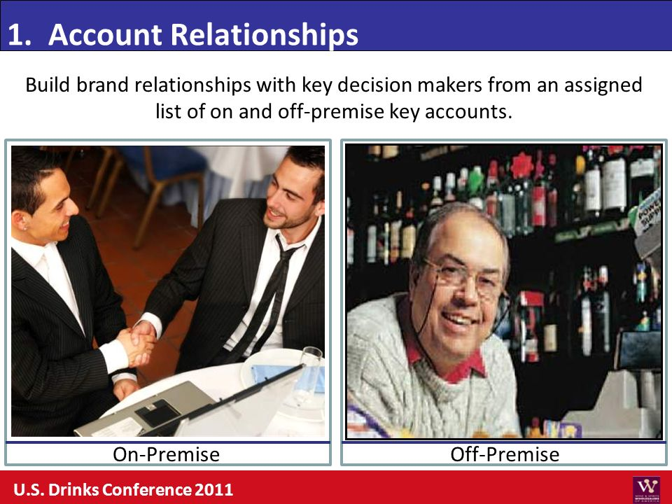 Build brand relationships with key decision makers from an assigned list of on and off-premise key accounts. 1. Account Relationships Off-PremiseOn-Pr