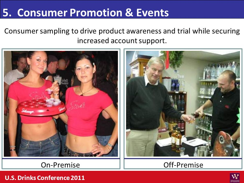 Consumer sampling to drive product awareness and trial while securing increased account support. 5. Consumer Promotion & Events Off-PremiseOn-Premise