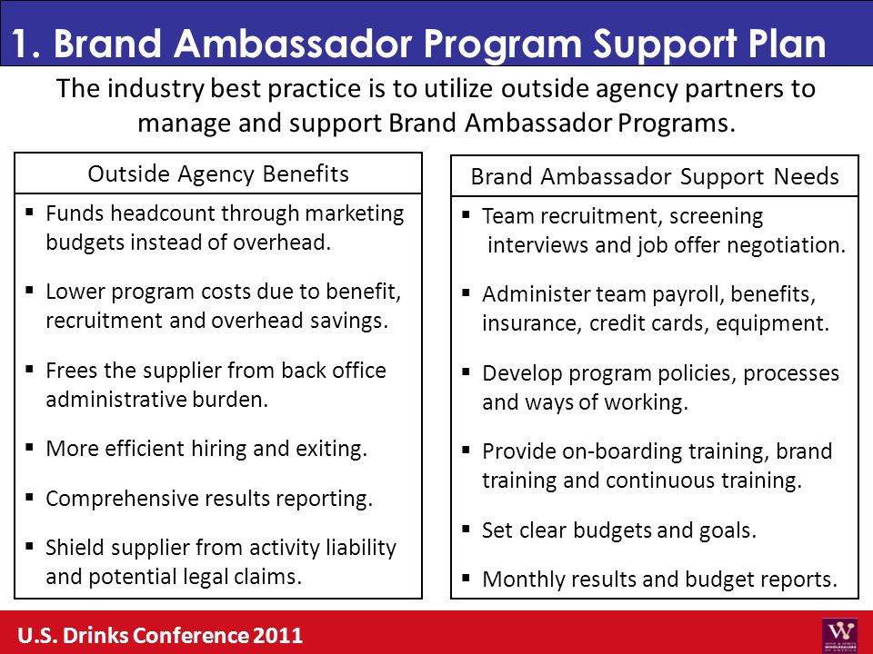 1. Brand Ambassador Program Support Plan U.S. Drinks Conference 2011 The industry best practice is to utilize outside agency partners to manage and su