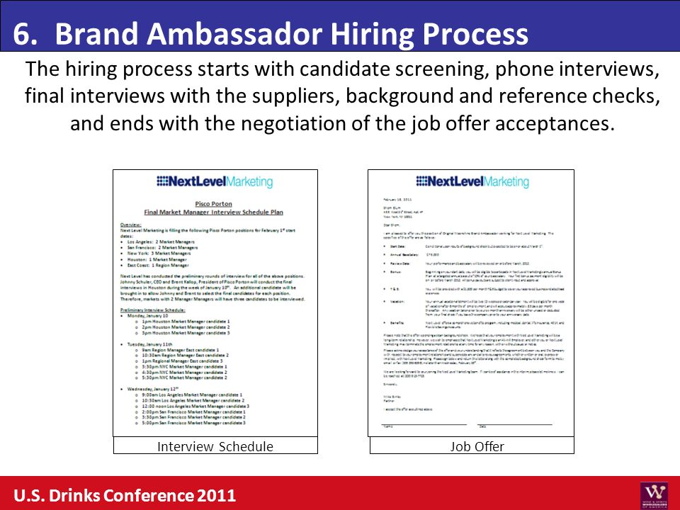 6. Brand Ambassador Hiring Process U.S. Drinks Conference 2011 The hiring process starts with candidate screening, phone interviews, final interviews