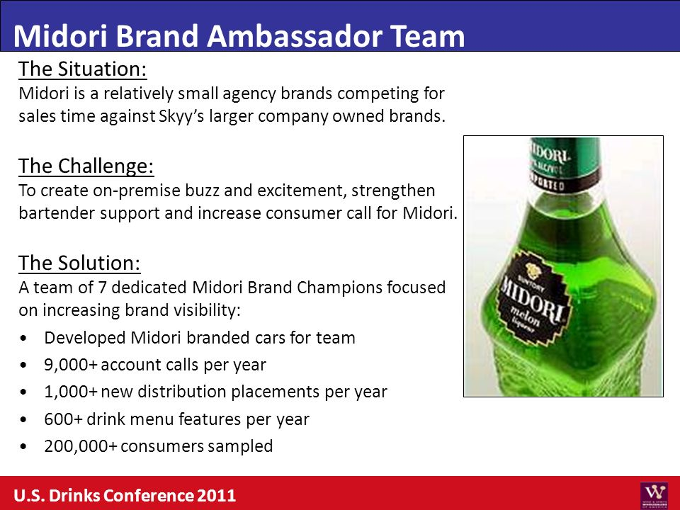 Midori Brand Ambassador Team The Situation: Midori is a relatively small agency brands competing for sales time against Skyys larger company owned bra