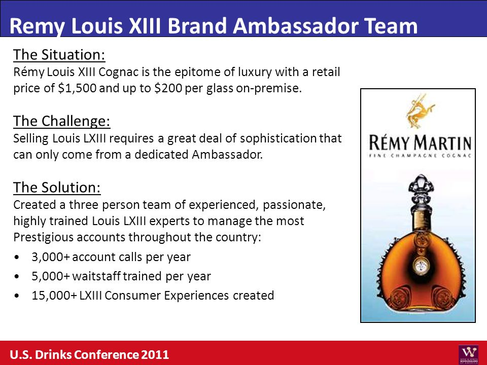 Remy Louis XIII Brand Ambassador Team The Situation: Rémy Louis XIII Cognac is the epitome of luxury with a retail price of $1,500 and up to $200 per