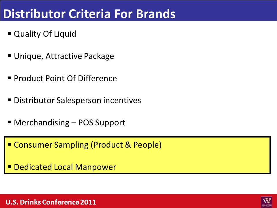 Distributor Criteria For Brands Quality Of Liquid Unique, Attractive Package Product Point Of Difference Distributor Salesperson incentives Merchandis