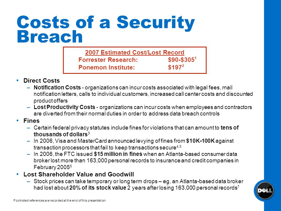 Costs of a Security Breach Direct Costs –Notification Costs - organizations can incur costs associated with legal fees, mail notification letters, cal