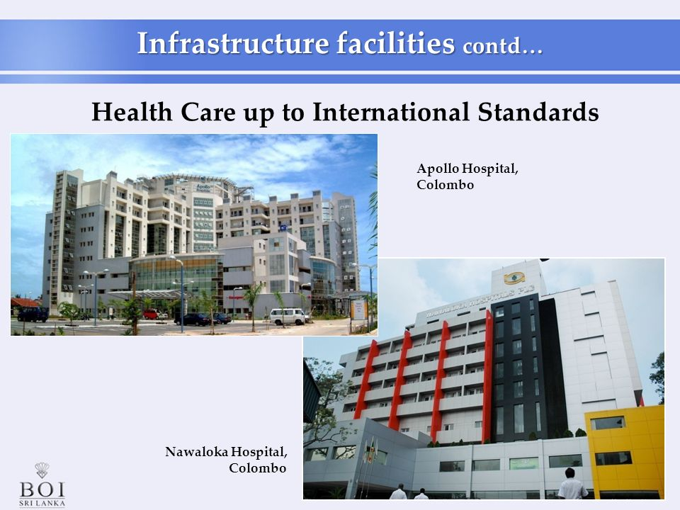 Nawaloka Hospital, Colombo Health Care up to International Standards Apollo Hospital, Colombo Infrastructure facilities contd…