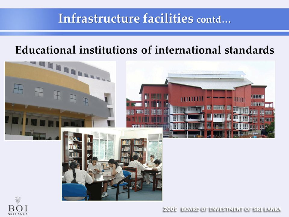 Educational institutions of international standards Infrastructure facilities contd…