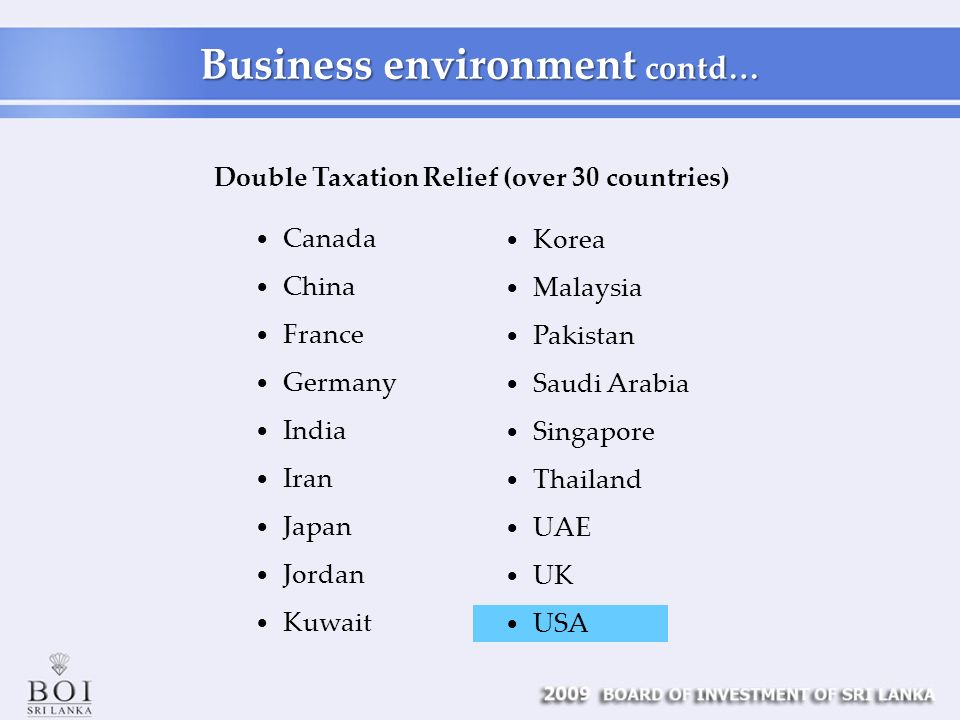 Double Taxation Relief (over 30 countries) Canada China France Germany India Iran Japan Jordan Kuwait Korea Malaysia Pakistan Saudi Arabia Singapore Thailand UAE UK USA Business environment contd…
