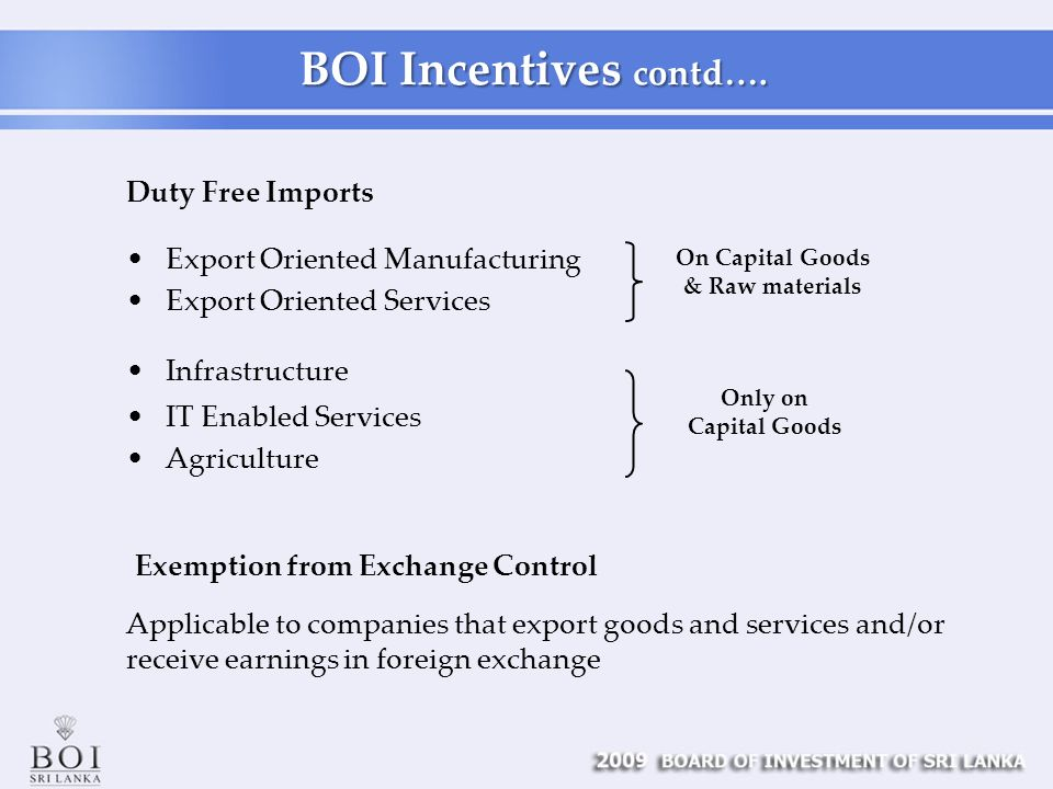 BOI Incentives contd….