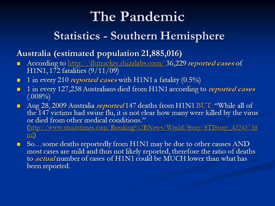 The Pandemic Statistics - Southern Hemisphere Australia (estimated population 21,885,016) According to http://flutracker.rhizalabs.com/ 36,229 reporte