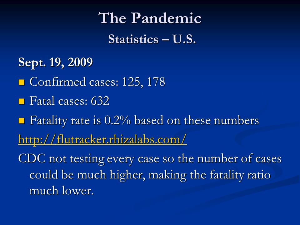 The Pandemic Statistics – U.S. Sept. 19, 2009 Confirmed cases: 125, 178 Confirmed cases: 125, 178 Fatal cases: 632 Fatal cases: 632 Fatality rate is 0