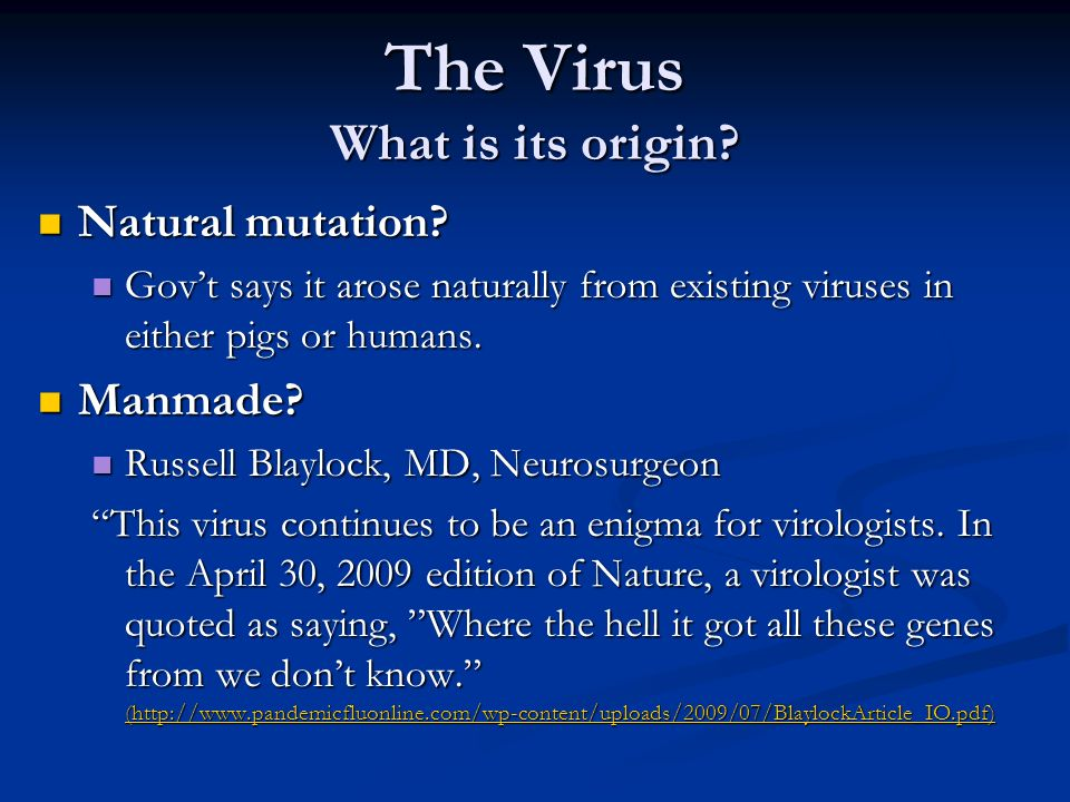 The Virus What is its origin? Natural mutation? Natural mutation? Govt says it arose naturally from existing viruses in either pigs or humans. Govt sa