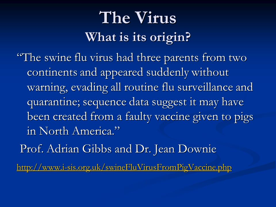 The Virus What is its origin? The swine flu virus had three parents from two continents and appeared suddenly without warning, evading all routine flu