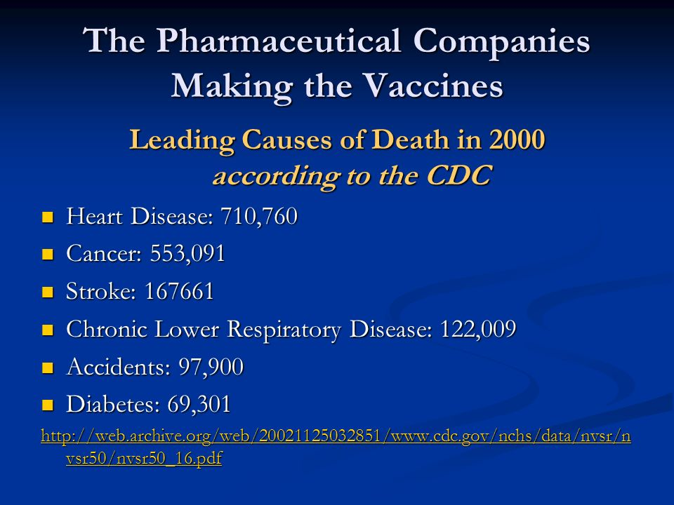 The Pharmaceutical Companies Making the Vaccines Leading Causes of Death in 2000 according to the CDC Heart Disease: 710,760 Heart Disease: 710,760 Ca
