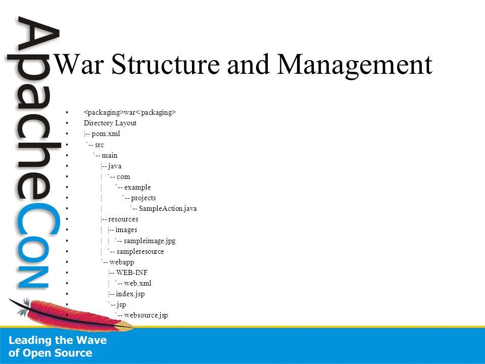 War Structure and Management war Directory Layout |-- pom.xml `-- src `-- main |-- java | `-- com | `-- example | `-- projects | `-- SampleAction.java |-- resources | |-- images | | `-- sampleimage.jpg | `-- sampleresource `-- webapp |-- WEB-INF | `-- web.xml |-- index.jsp `-- jsp `-- websource.jsp