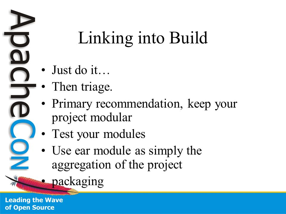 Linking into Build Just do it… Then triage.