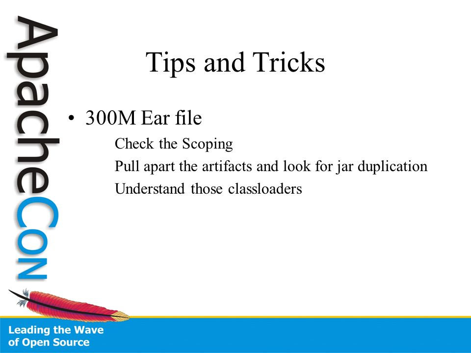 Tips and Tricks 300M Ear file Check the Scoping Pull apart the artifacts and look for jar duplication Understand those classloaders