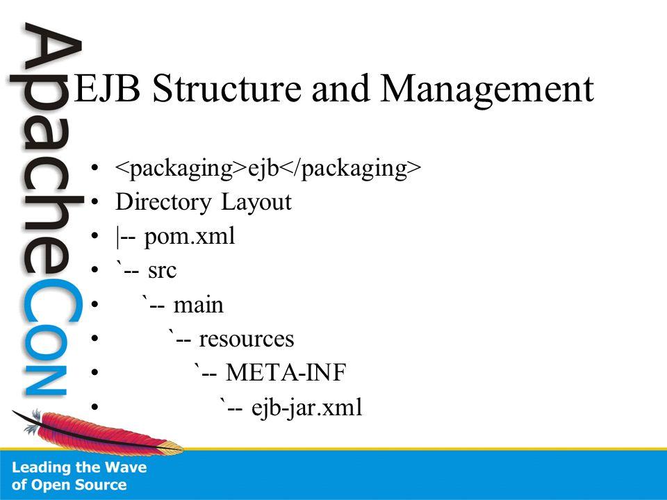 EJB Structure and Management ejb Directory Layout |-- pom.xml `-- src `-- main `-- resources `-- META-INF `-- ejb-jar.xml