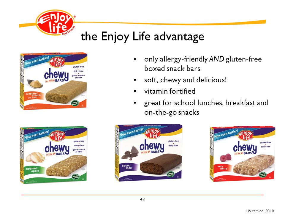 US version_ the Enjoy Life advantage only allergy-friendly AND gluten-free boxed snack bars soft, chewy and delicious.