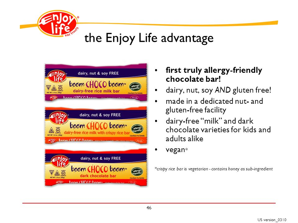 US version_ the Enjoy Life advantage first truly allergy-friendly chocolate bar.