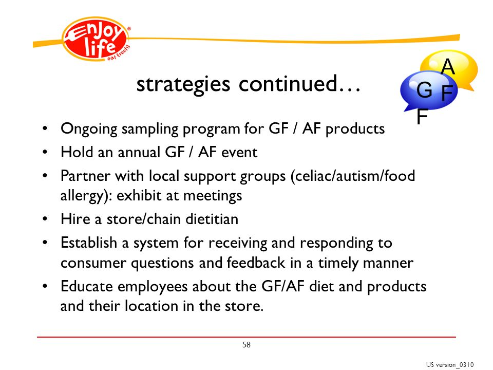 US version_ strategies continued… Ongoing sampling program for GF / AF products Hold an annual GF / AF event Partner with local support groups (celiac/autism/food allergy): exhibit at meetings Hire a store/chain dietitian Establish a system for receiving and responding to consumer questions and feedback in a timely manner Educate employees about the GF/AF diet and products and their location in the store.