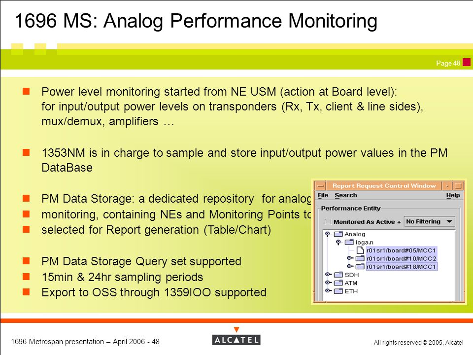 All rights reserved © 2005, Alcatel 1696 Metrospan presentation – April 2006 - 48 Page 48 Power level monitoring started from NE USM (action at Board
