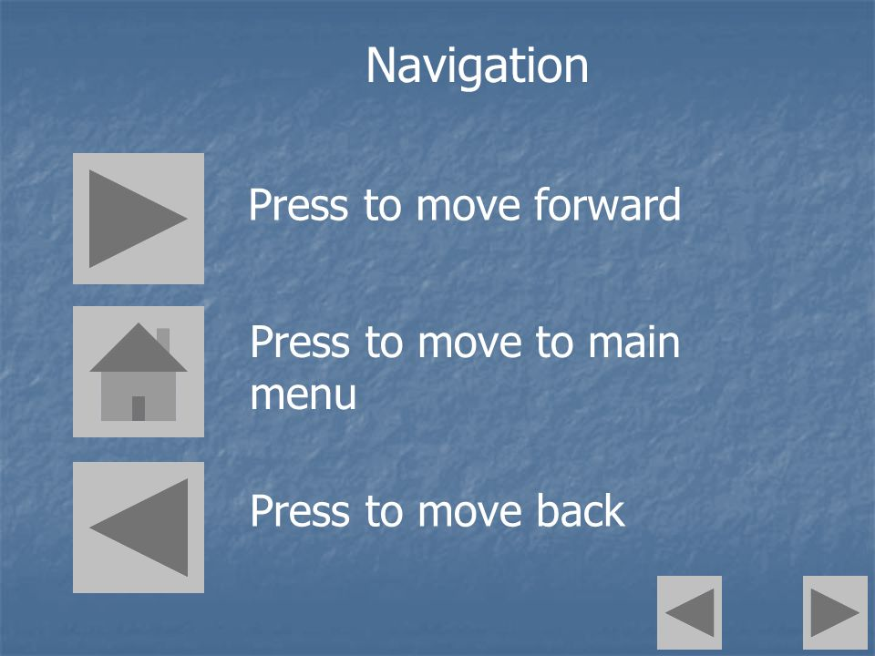 Press to move forward Press to move to main menu Press to move back Navigation