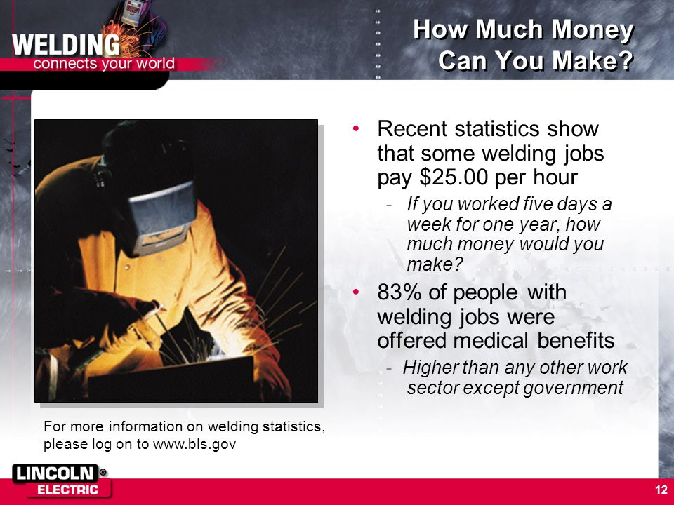 12 How Much Money Can You Make? Recent statistics show that some welding jobs pay $25.00 per hour -If you worked five days a week for one year, how mu