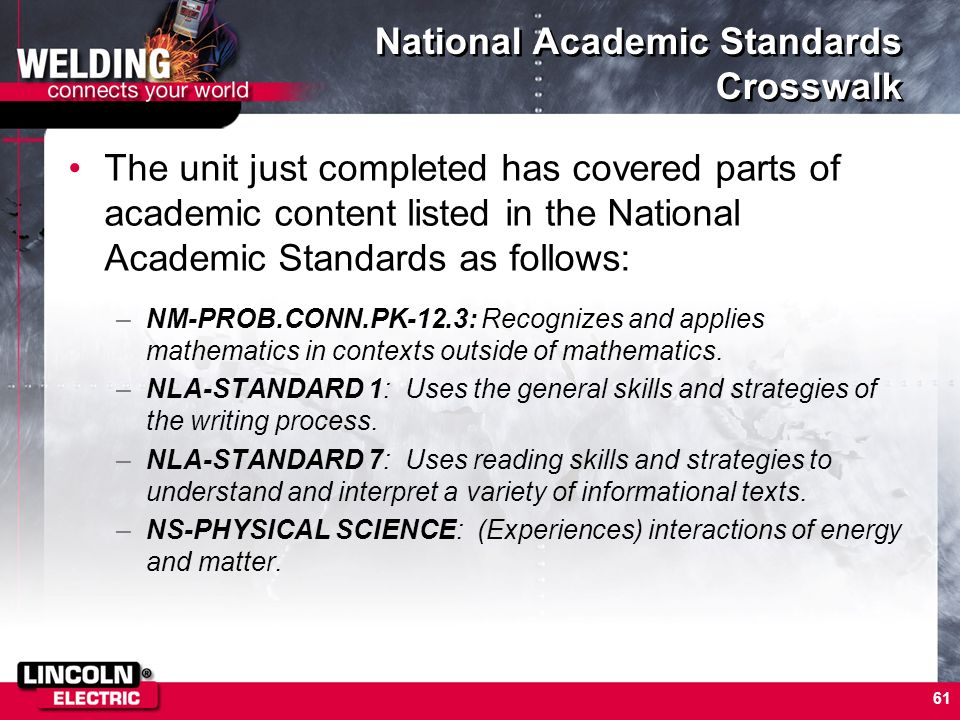 61 National Academic Standards Crosswalk The unit just completed has covered parts of academic content listed in the National Academic Standards as fo