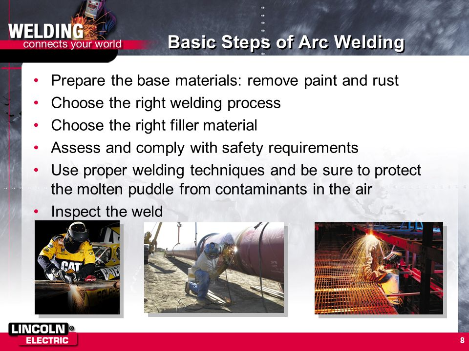 8 Basic Steps of Arc Welding Prepare the base materials: remove paint and rust Choose the right welding process Choose the right filler material Asses