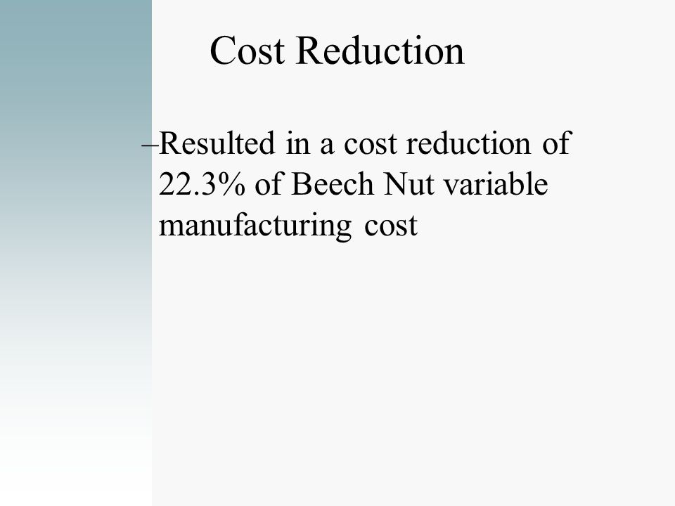Cost Reduction –Resulted in a cost reduction of 22.3% of Beech Nut variable manufacturing cost