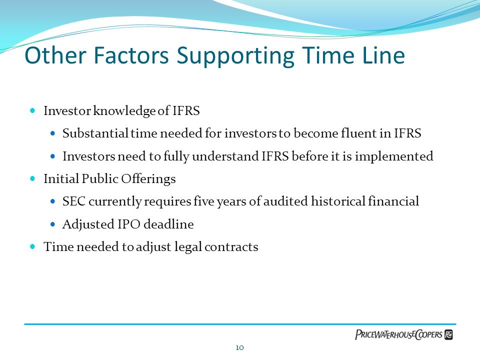 Other Factors Supporting Time Line Investor knowledge of IFRS Substantial time needed for investors to become fluent in IFRS Investors need to fully u