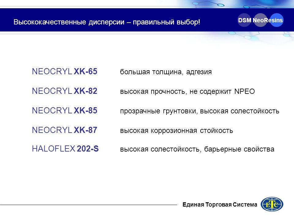 Единая Торговая Система DSM NeoResins Высококачественные дисперсии – правильный выбор! NEOCRYL XK-65 большая толщина, адгезия NEOCRYL XK-82 высокая пр