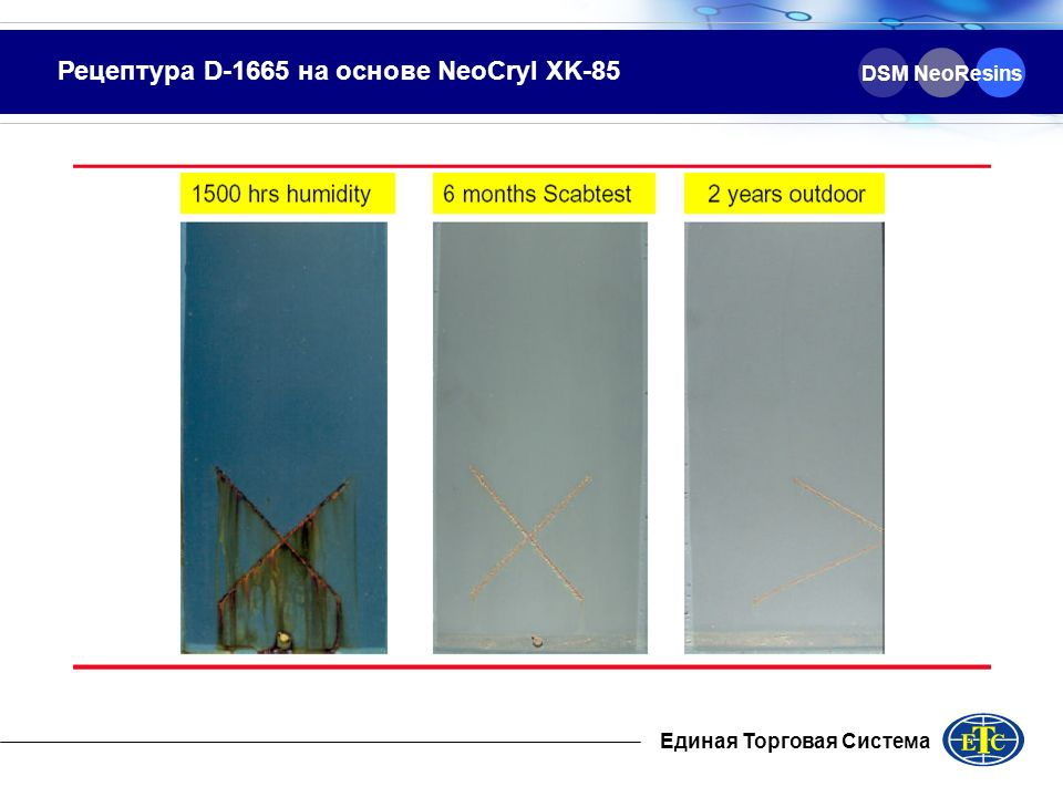 Рецептура D-1665 на основе NeoCryl XK-85 DSM NeoResins Единая Торговая Система