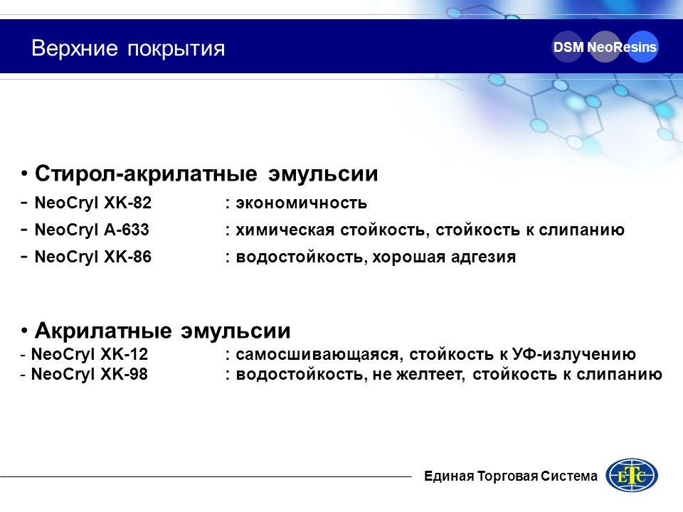 DSM NeoResins Верхние покрытия Стирол-акрилатные эмульсии - NeoCryl XK-82: экономичность - NeoCryl A-633: химическая стойкость, стойкость к слипанию -