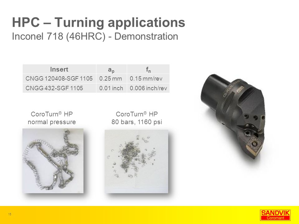 15 CoroTurn ® HP normal pressure CoroTurn ® HP 80 bars, 1160 psi HPC – Turning applications Inconel 718 (46HRC) - Demonstration Insertapap fnfn CNGG 1