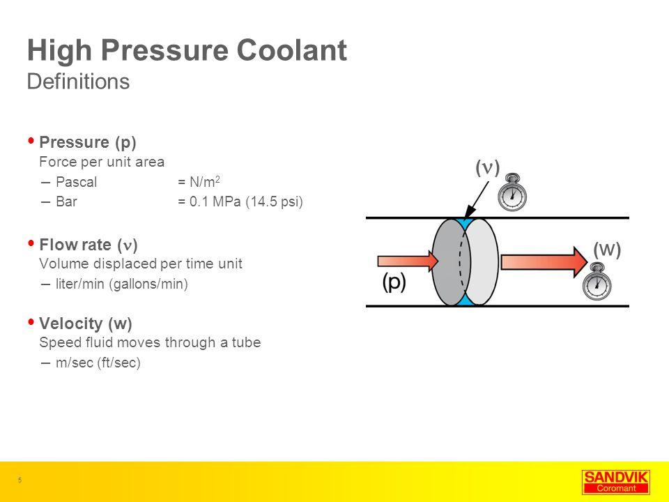 5 Pressure (p) Force per unit area – Pascal = N/m 2 – Bar= 0.1 MPa (14.5 psi) Flow rate ( ) Volume displaced per time unit – liter/min (gallons/min) V