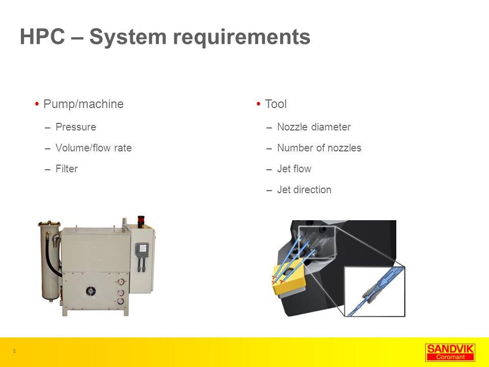 8 HPC – System requirements Pump/machine –Pressure –Volume/flow rate –Filter Tool –Nozzle diameter –Number of nozzles –Jet flow –Jet direction