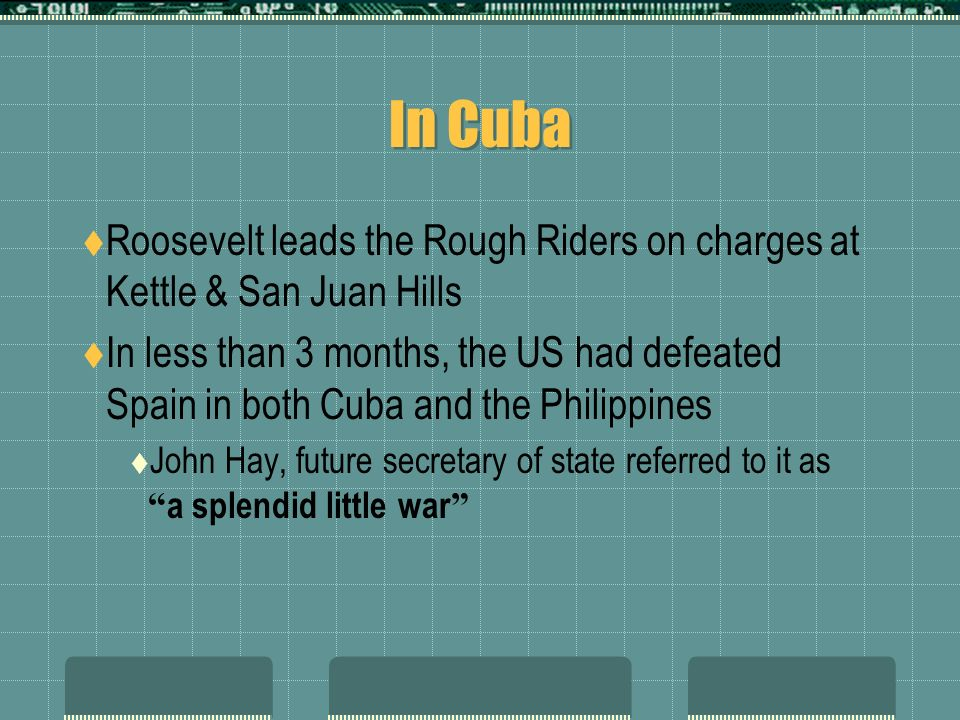In Cuba Roosevelt leads the Rough Riders on charges at Kettle & San Juan Hills In less than 3 months, the US had defeated Spain in both Cuba and the Philippines John Hay, future secretary of state referred to it as a splendid little war