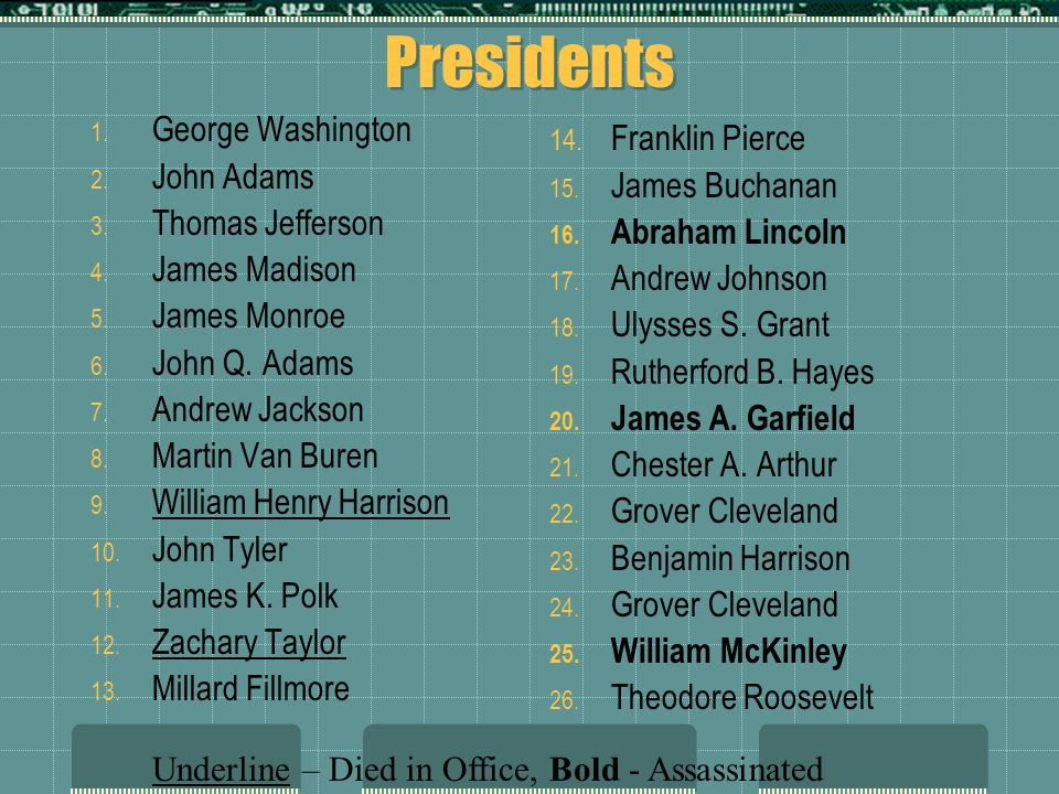 Presidents 1. George Washington 2. John Adams 3. Thomas Jefferson 4. James Madison 5. James Monroe 6. John Q. Adams 7. Andrew Jackson 8. Martin Van Bu