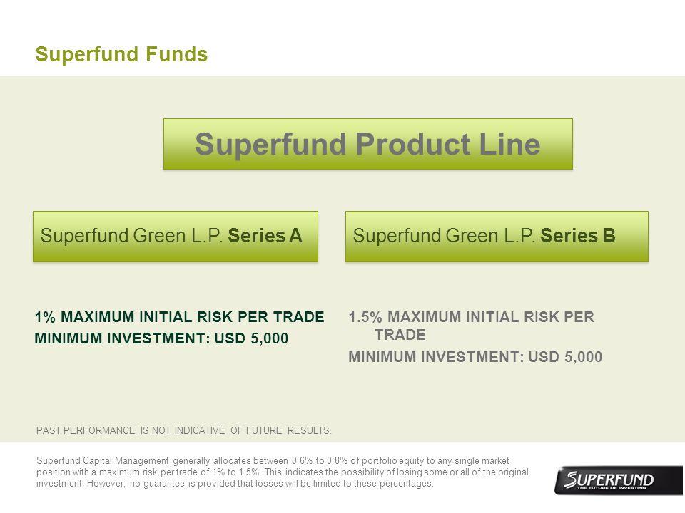 Superfund Funds 1% MAXIMUM INITIAL RISK PER TRADE MINIMUM INVESTMENT: USD 5,000 1.5% MAXIMUM INITIAL RISK PER TRADE MINIMUM INVESTMENT: USD 5,000 Supe