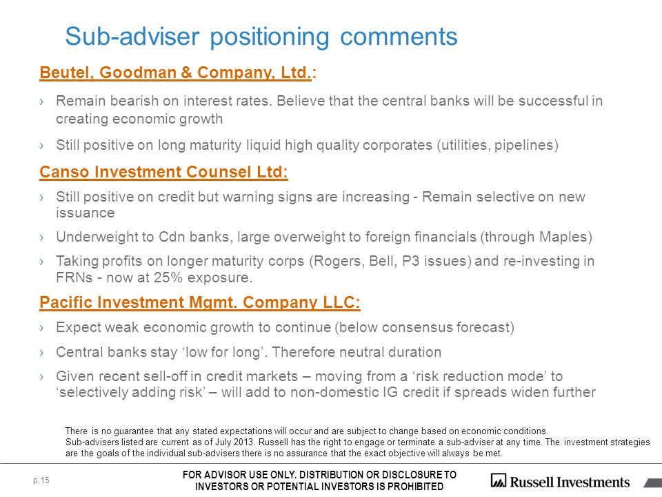 p.15 Sub-adviser positioning comments Beutel, Goodman & Company, Ltd.: Remain bearish on interest rates. Believe that the central banks will be succes