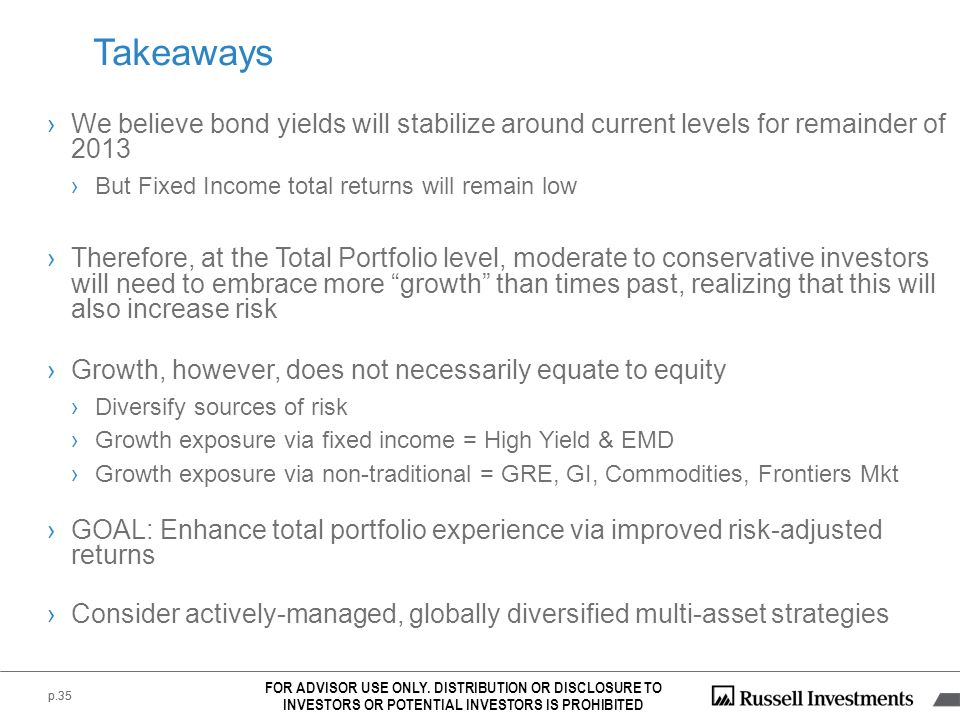 p.35 We believe bond yields will stabilize around current levels for remainder of 2013 But Fixed Income total returns will remain low Therefore, at th