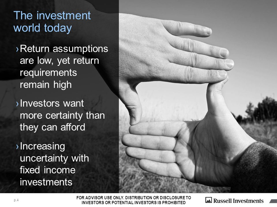 Part II Reviewing your Multi- Asset strategy: Russell in Action FOR ADVISOR USE ONLY.