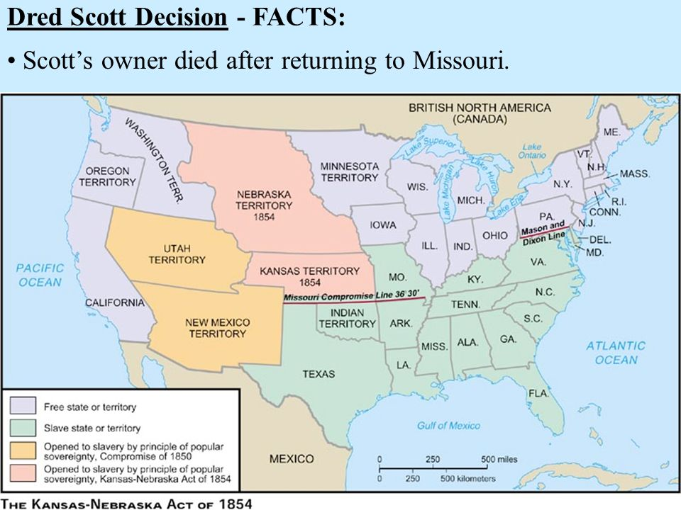Dred Scott Decision - FACTS: Scotts owner died after returning to Missouri.