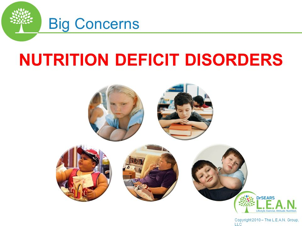 Copyright 2010 – The L.E.A.N. Group, LLC NUTRITION DEFICIT DISORDERS Big Concerns