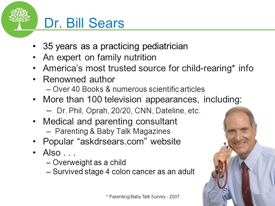 Copyright 2010 – The L.E.A.N. Group, LLC Dr. Bill Sears 35 years as a practicing pediatrician An expert on family nutrition Americas most trusted sour