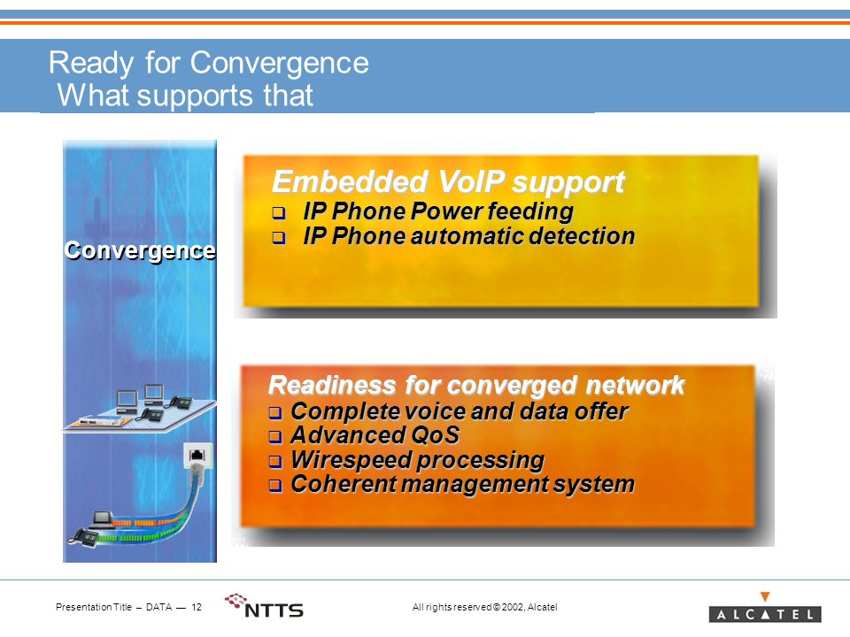 Presentation Title – DATA 12 All rights reserved © 2002, Alcatel Ready for Convergence What supports that Embedded VoIP support IP Phone Power feeding IP Phone Power feeding IP Phone automatic detection IP Phone automatic detection Readiness for converged network Complete voice and data offer Complete voice and data offer Advanced QoS Advanced QoS Wirespeed processing Wirespeed processing Coherent management system Coherent management system Convergence