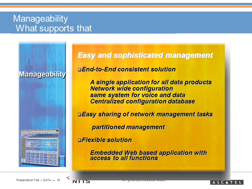 Presentation Title – DATA 15 All rights reserved © 2002, Alcatel Manageability What supports that Manageability Easy and sophisticated management End-to-End consistent solution End-to-End consistent solution A single application for all data products Network wide configuration same system for voice and data Centralized configuration database Easy sharing of network management tasks Easy sharing of network management tasks partitioned management partitioned management Flexible solution Flexible solution Embedded Web based application with access to all functions